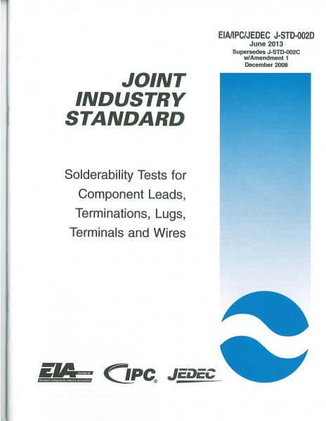 IPC J-STD-002D Solderability Tests for Component Leads, Terminations, Lugs, Terminals and Wires