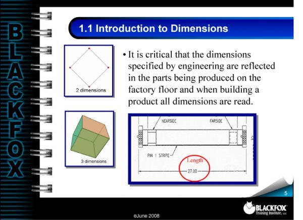 Dimensions & Tolerance Training Materials