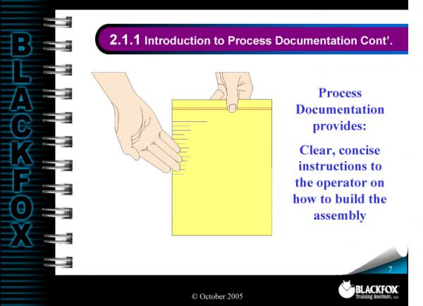 Manufacturing Process Documentation Training Materials