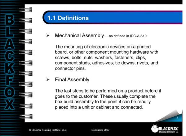 Mechanical & Final Assembly Training Materials